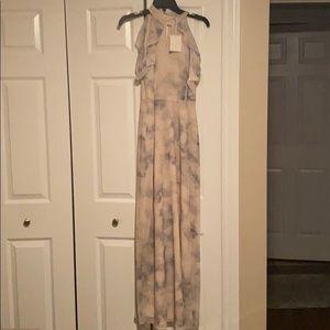 NWT Lauren Conrad Cold Shoulder Ruffle Maxi Dress